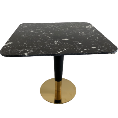 Artist square black Dining table with black&gold leg-85cm