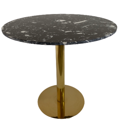 Luxury black round Dining table 80cm with gold leg
