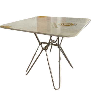 Modern white square Hairpin Dining table with stainless leg