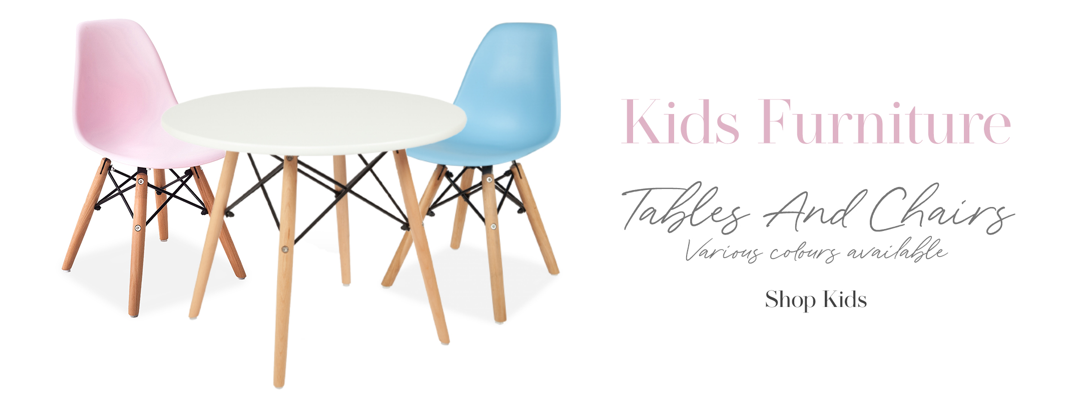 Children''s table and chairs, blue and pink chair with white table